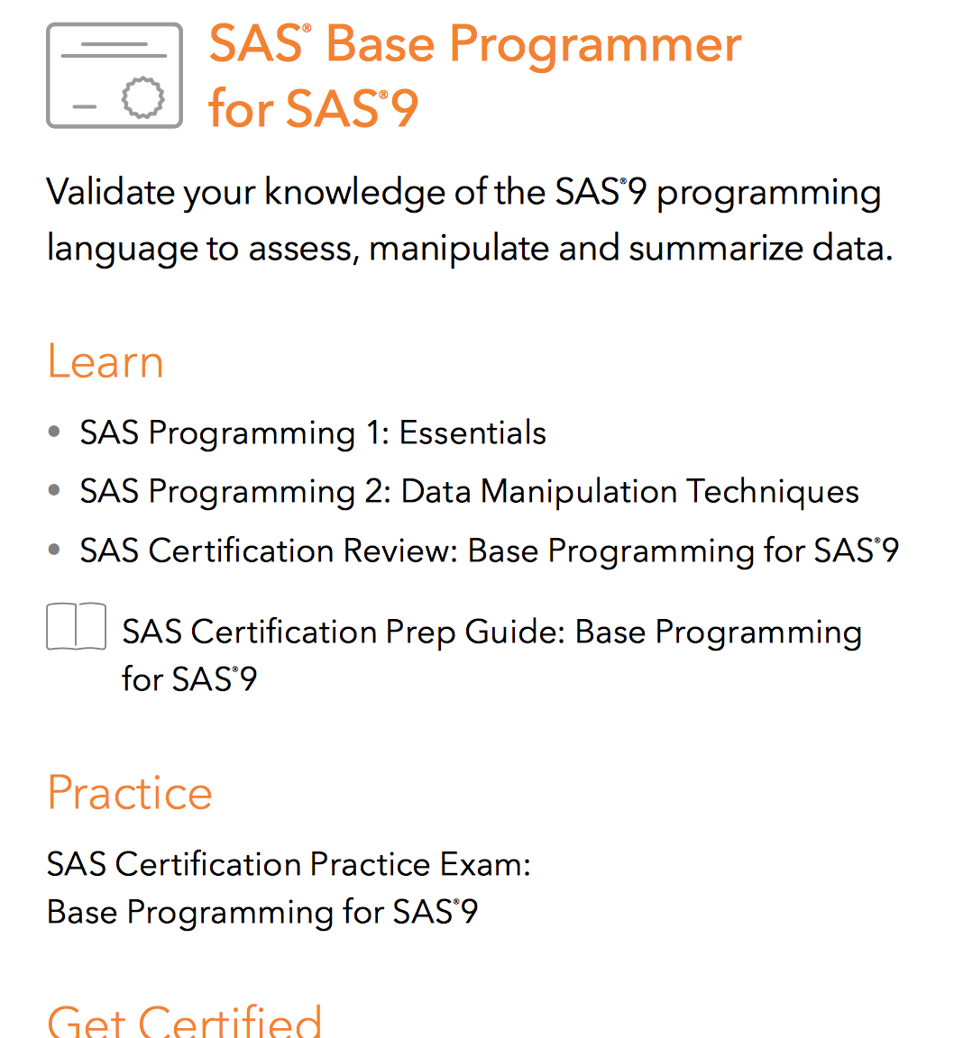 Which Courses To Study In The E Learning List For Sas Support