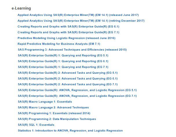 Which courses to study in the e-learning list for ... - SAS Support ...