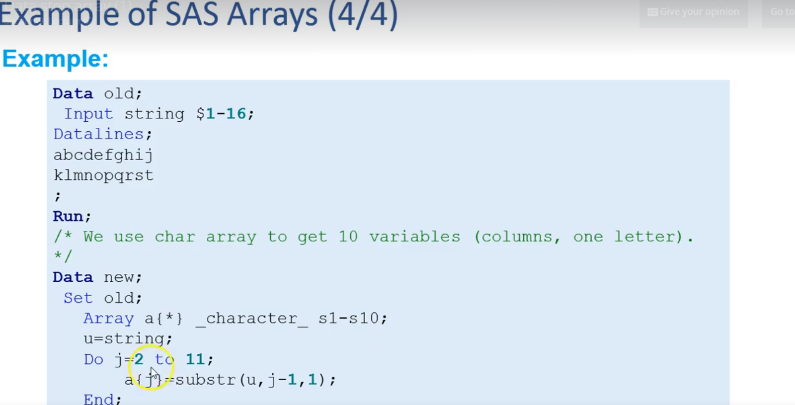 Solved: Use of array and substr - SAS Support Communities