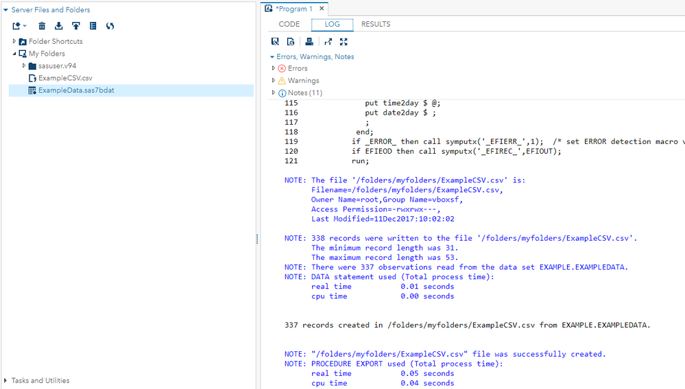 Exporting SAS Datasets as a  CSV File in SAS Unive    - SAS
