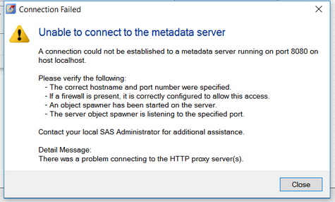 Enable to connect to metadata server - SAS Support Communities