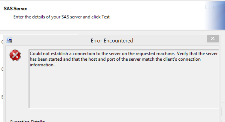 Unable to connect to the metadata server in SAS EG    - SAS