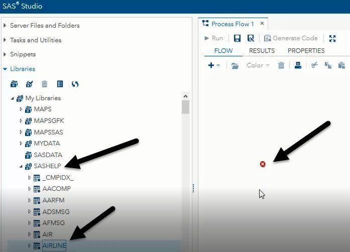 unable to add datasets onto a process flow on sas sas support