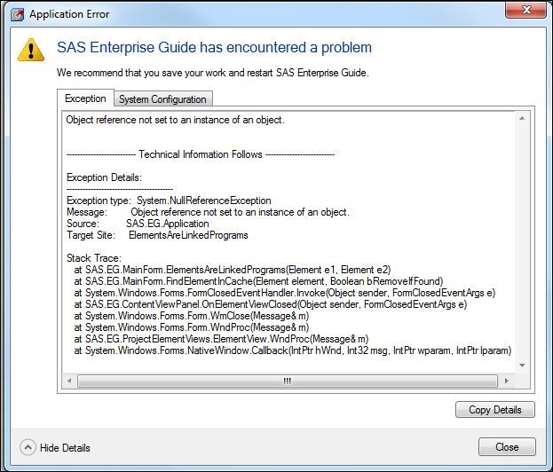 Solved: Error when deleting from Enterprise Guide project     - SAS