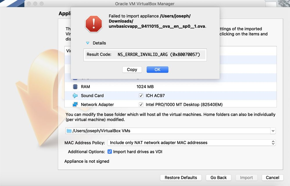 Fail to import appliance (Mac OS) - SAS Support Communities