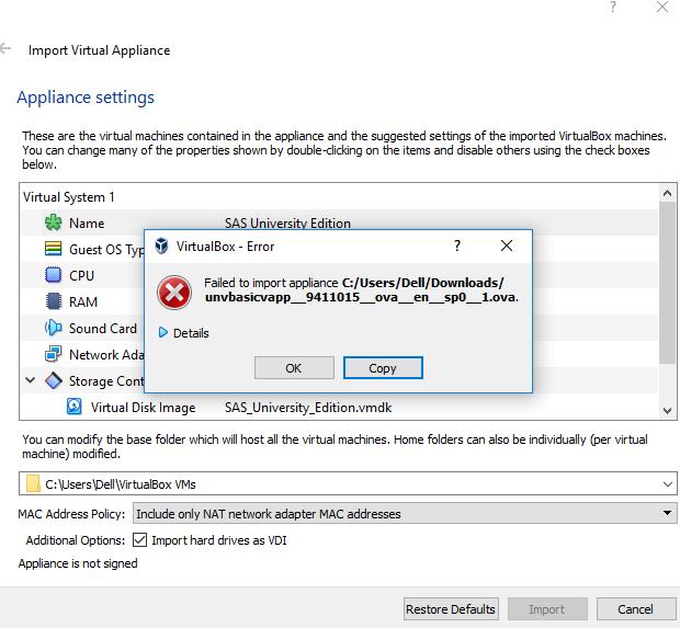 Failing to import SAS to Virtual Box - SAS Support Communities