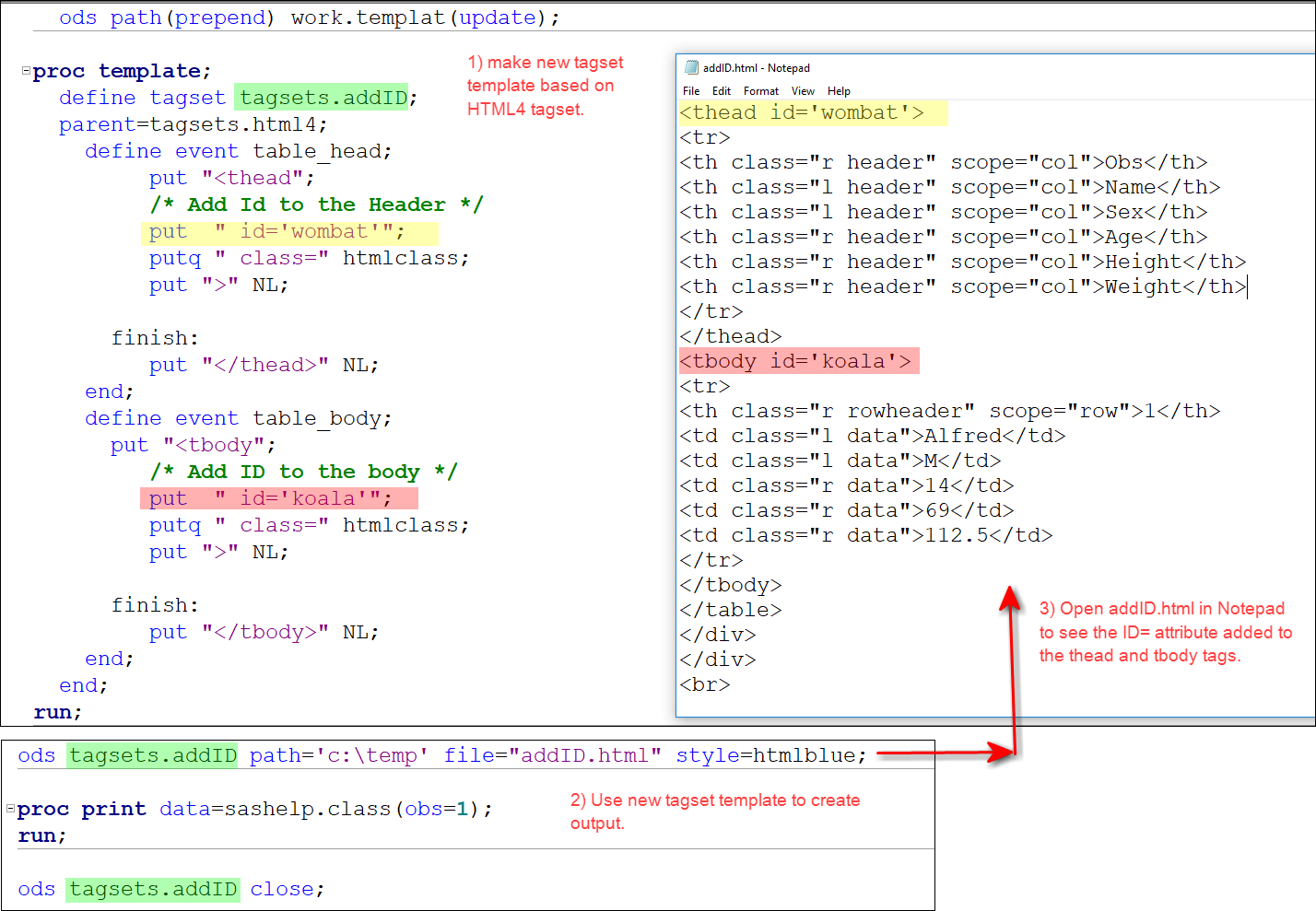 ods html proc report how to set an ID for table, h    - SAS