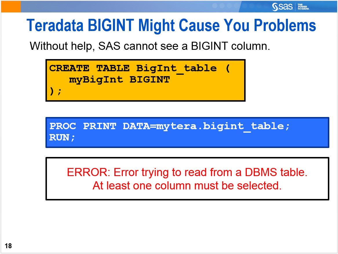 Solved: How do to access a bigint in Teradata from Enterpr