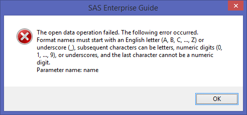 Solved: The open data operation failed - SAS Support Communities