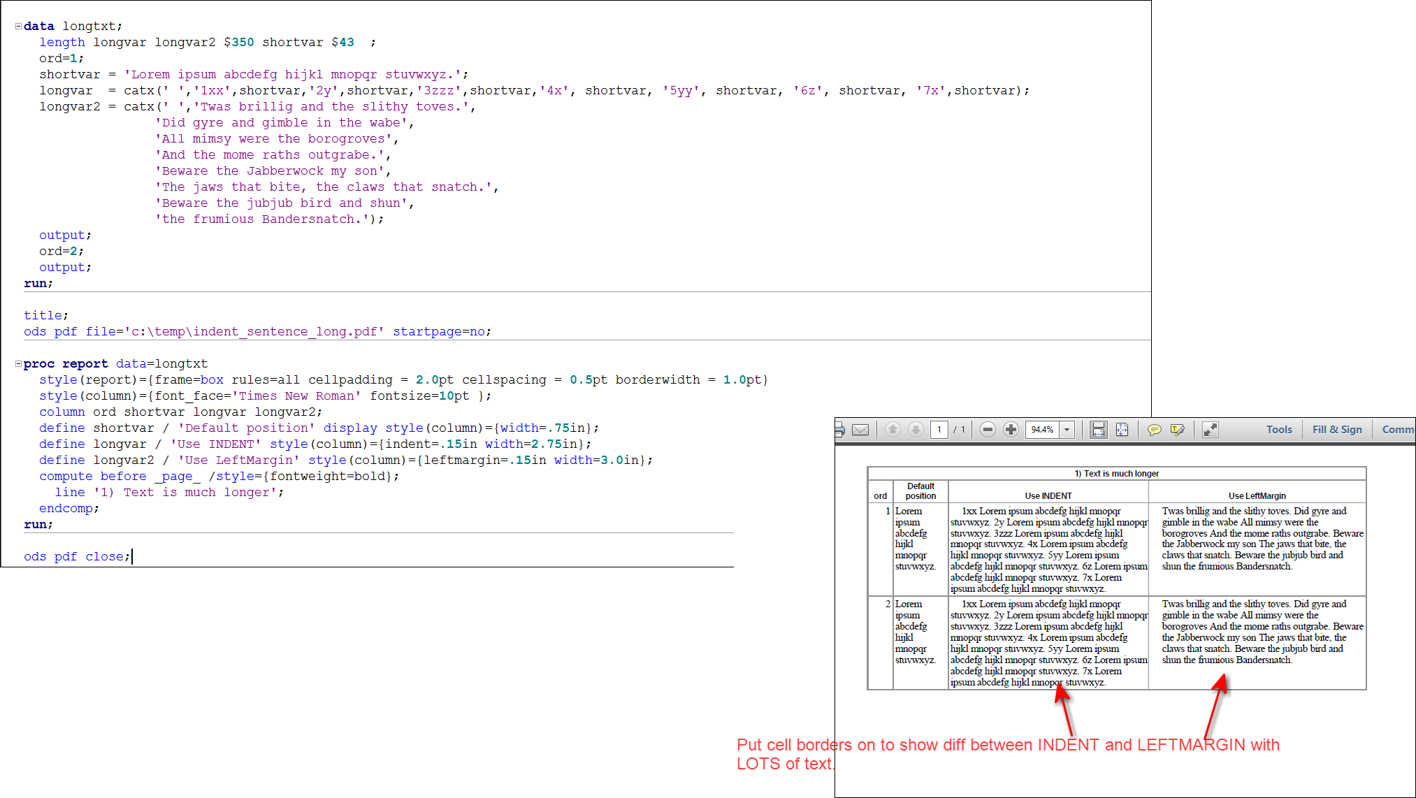 Solved: ODS PDF/RTF and the REPORT procedure: break on spa