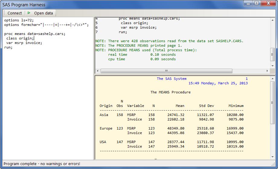 Simple program editor, log, listing