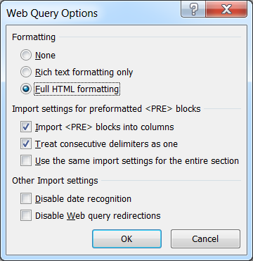 Excel Web Query Options