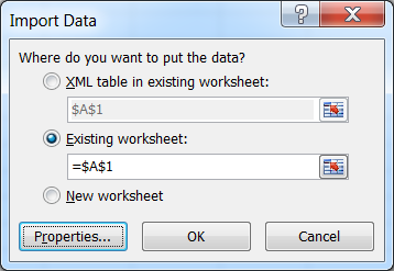 Excel Import Data Options
