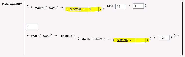 Figure 6 - Expression for First of Month+N