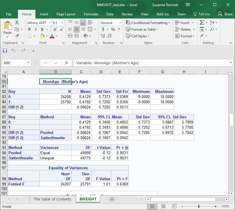 Second variable in PROC TTEST output has variable name and label in ODS EXCEL.jpg